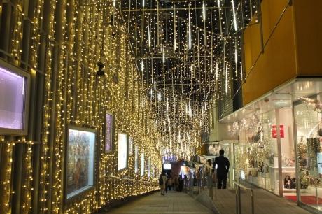 shimmering lights on mosaic street